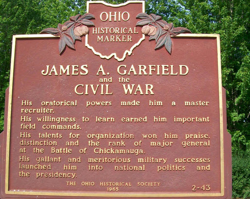 james garfield fought in the civil war he was a resident of mentor ohio this is a ohio historical plaque